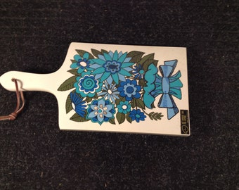 Vintage Cutting Board By Apco Blue Turquoise & Green Flowers Yugoslavia mod flower power