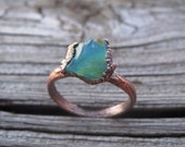 Peruvian Blue Opal Electroformed Copper Ring. Organic Rustic Unique Jewelry Gift.