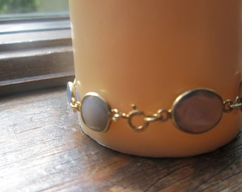 Victorian 14K Gold/925 Sterling Silver 25.00ct Rose Cut Chalcedony Bracelet 8.4 G, 7.5 Inches