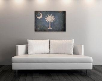 Vintage South Carolina Canvas Print, South Carolina Flag, Flag Art, South Carolina Wall Art, Wall Decor, State Poster, Decor [PP042-C]
