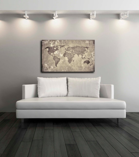 Vintage World Map Canvas Print Wall Decor World Map Canvas