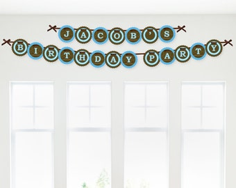 Blue Elephant Birthday Banner - Happy Birthday Garland Banner