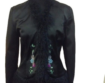 Nicole Miller Collection Satin/Lamb Wool Trim Beaded/Sequin Evening Jacket Size 2