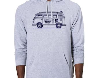 VW Surf Bus Graphic printed on Men's American Apparel Pullover Hoodie