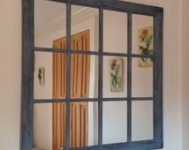 Distressed Mirror Frame, Home decor, Shabby chic Mirror, Window Sash, Multi Pane Mirror,window pane, Vanity.