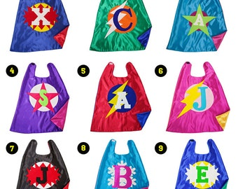 Superhero Cape for Boys or Girls - Personalized Cape - Free Mask - Super Hero Cape with Initial - Satin Capes - Quick Ship