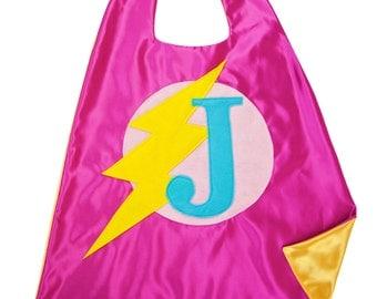 Pink and Yellow SUPERHERO CAPE . Free Mask - Girl Superhero . Girls Custom Cape . Superhero Party Cape . Quick Turnaround
