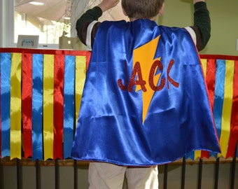 SUPERHERO NAME CAPE - Full Name Super Hero Cape - Glitter Name Cape - Custom Superhero Cape - Custom Shape and Colors - Ships Quickly