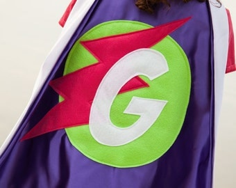 KIDS PERSONALIZED CAPE . Free Mask . Girls Superhero Party Cape . Letter Cape . Initial Cape . Ships in 2-3 Days