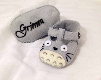 Totoro Baby Shoes, Baby Booties, Baby Slippers, Handmade in Lightweight Felt.