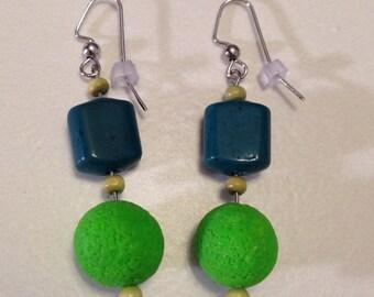 Green Dangle Earrings Polymer Clay Spring Fall Rustic