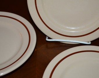 SET of 10 - Buffalo China Cafe - Bread and Butter Plates - Tan with Rust Brown Band - Made in USA 1948 - Vintage Restaurant Ware
