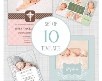 INSTANT DOWNLOAD: 10 PSD Baptism and Christening Invitation Templates. Mixed designs. Mini Pack 20.