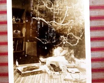 40's Christmas Tree Snapshot // 1940's or 1950's Christmas tree photo, presents under the tree // 40's vintage Christmas, quaint, vernacular