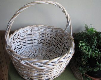 Vintage Large White Basket Gathering Trug Woven Baskets Flowers Vegetable Garden Storage