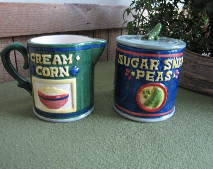 Canned Vegetables Sugar Bowl and Cream Pitcher Omnibus OCI 1994 Creamed Corn Sugar Snap Peas
