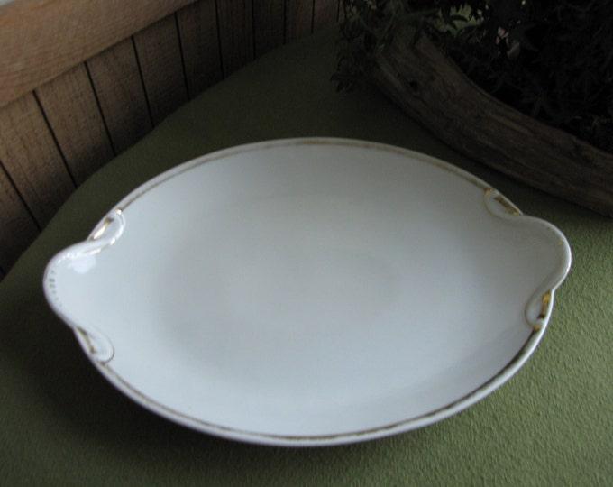 White and Gold Serving Platter Antique Basset Limoges Austrian Porcelain