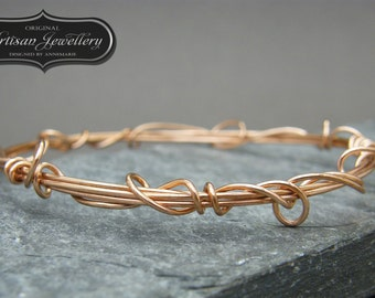 Bronze Wire Wrapped Fairytale Bangle, Solid Bronze Bracelet, Rose Gold Bangle, unique stacking bracelet, stacking bangles, gold bangle