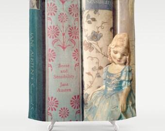 Sense and Sensibility Jane Austen Shower Curtain: Home decor, books, librarian, teacher. blue, bathroom, girl