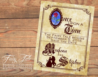 Fairy Tale Wedding Collection - Beauty and the Beast Storybook Save the Date Postcard