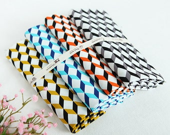 Cube Pattern Cotton Fabric - 4 Colors Selection