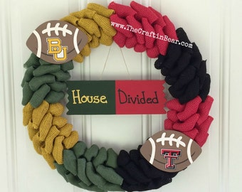 House Divided wreath - House Divided - Burlap wreath - Baylor University - Texas Tech University - Other teams available