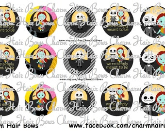 """INSTANT DOWNLOAD Inspired by Jack and Sally Nightmare Before Christmas 1"""" Circle Sheet Bottle Caps"""
