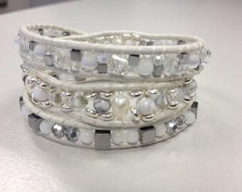 White/Bridal Boho Triple Wrap Bracelet