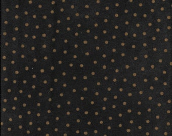 45'' Maywood Studios Black With Cream/Gold Polka Dots Woolies Flannel MASF 18506-JA by the Yard