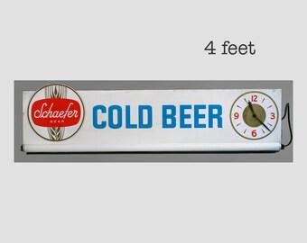 schaefer beer sign, schaefer cold beer sign, light up beer sign, light up beer clock, schaefer beer clock, vintage bar clock, bar sign,