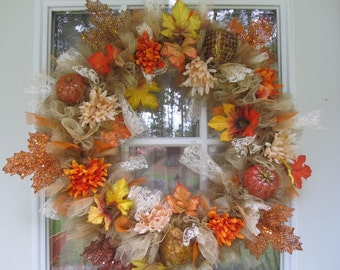 Tulle Fall Floral Wreath