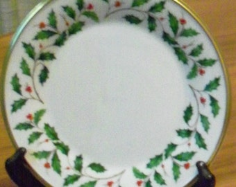 Vintage Lenox Holiday Fine China Dimension Shape Gold Bread and Butter Plate - Holly and Berries Design