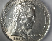 Silver Coin, Commemorative Coin,Silver Half Dollar Coin, 50 Cent Coin, 1918 USA Abraham Lincoln Slabbed Coin, ICG - MS62, Half Dollar Coin,