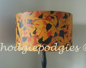 Autumnal inspired, original hand printed lamp shade. ' birds in ivy'. Orange/ black