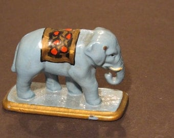 iron elephant hand-painted vintage blue