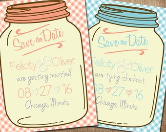Mason Jar Rustic Gingham Save the Date -  Fully customizable!