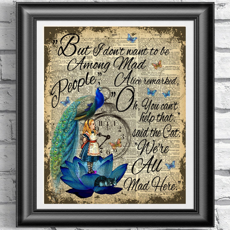 Alice In Wonderland Book Page Print Blue Lotus Print Peacock