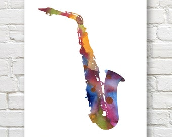 Sax Art Print - Abstract Watercolor Painting - Saxophone Art - Music Wall Decor