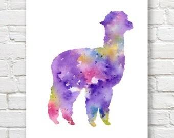 Alpaca Art Print - Abstract Watercolor Painting - Wall Decor
