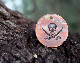 Pirate - Skull - Pet Tags - Pet ID Tag - Dog Tag - Skull and Crossbones - Custom Dog Tag - Personalized Dog Tag - Cat Tag - Jolly Roger