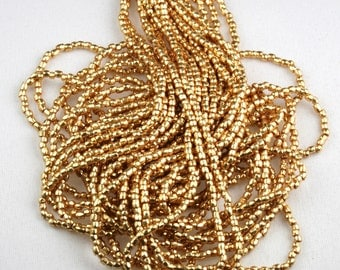 "LAST!!! Full hank!!!  9/0 3Cut Metallic Light Gold Czech seed beads - 10/18"" hank"