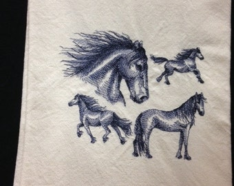 Freisian Horse Dish Towel, Horse, Embroidered, Cotton Tea Towel, Made in Montana