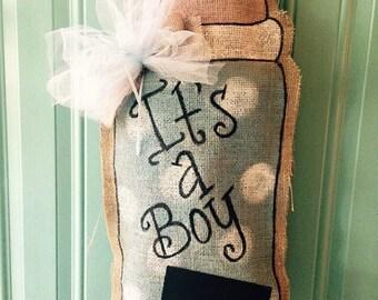Baby Bottle Burlap Door Hanger