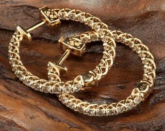 14K Yellow Gold Diamond Hoop  Earrings - DE925Y