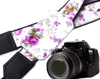 Purple Roses Camera strap with a pocket. Fowers camera strap.  DSLR / SLR Camera Strap.