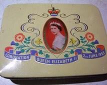 Royal Coronation Tin. Queen Elizabeth II Coronation 1953 British Royal souvenir