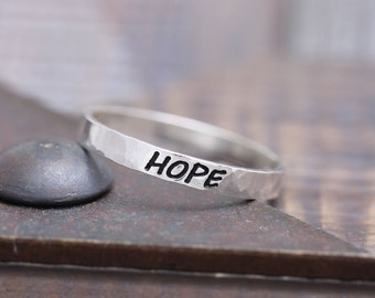 925 sterling silver hammered hope band ring (WPR_00011)