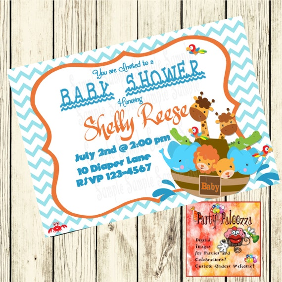 printable noah 39 s ark baby shower invitation by partypaloozza