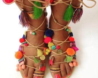 Bohemian multicolor spartan sandals