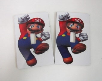 2 light switch covers, Mario Brothers design